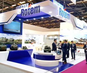 This photo, provided courtesy of Hyundai Rotem, shows the company's booth at the Eurosatory 2018 defense exhibition in Paris on June 12, 2018.