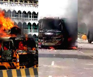 Miscreants blaze 9 buses, 5 shops in Dhaka