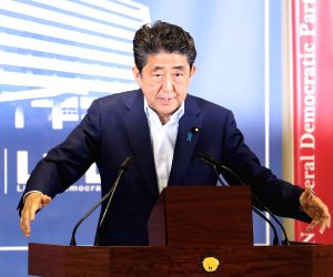 TOKYO, July 23, 2019 (Xinhua) -- Japanese Prime Minister Shinzo Abe attends a news conference in Tokyo, Japan, July 22, 2019. Abe said Monday that he will be more flexible for future debates in parliament on revising Japan's Constitution.     Abe mad