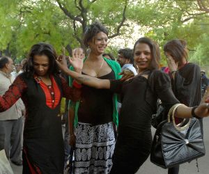 Transgenders celebrating Supreme Court's ruling for recognising them as third gender