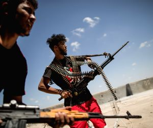 TRIPOLI, Aug. 16, 2019 - Fighters of the UN-backed Government of National Accord (GNA) are seen at a frontline in Tripoli, Libya, on Aug. 16, 2019. Since early April, the UN-backed Government of ...