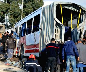 TUNISIA-TUNIS-BUS TRAIN CRASH