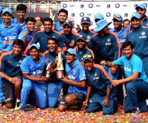 U19 Indian cricket team after winning tri-series against Bangladesh