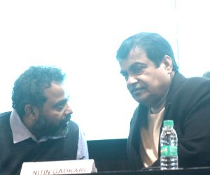 Nitin Gadkari, Pradeep Parameswaran during the launch of an initiative
