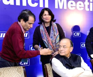 Union Finance and Corporate Affairs Minister Arun Jaitley and Commerce and Industry Minister Suresh Prabhu at CII National Council meeting, in New Delhi on Feb 6, 2018.
