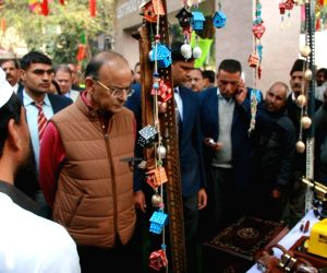 "Union Finance and Corporate Affairs Minister Arun Jaitley after the inauguration of the ""Hunar Haat"", in New Delhi, on Jan 13, 2019. ""Hunar Haat"" is to ensure ..."