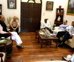 Union Finance Minister Arun Jaitley meets all the five secretaries of his ministry as well as the chairpersons of the two apex tax bodies CBDT and CBIC in New Delhi, on May 24, 2019.