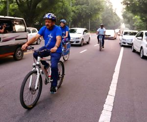 Union Health Minister Dr Harsh Vardhan cycles to the venue of the 72nd session of World Health Organization (WHO) Regional Office for South-East Asia (SEARO) in New Delhi on Sep 3, 2019.