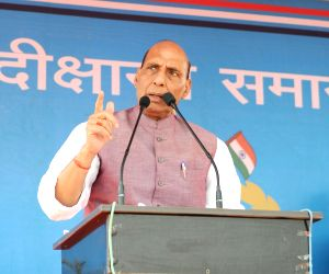 Union Home Minister Rajnath Singh addresses during the Passing Out Parade of the 'Bastariya Battalion' of CRPF in Ambikapur, Chhattisgarh on May 21, 2018.