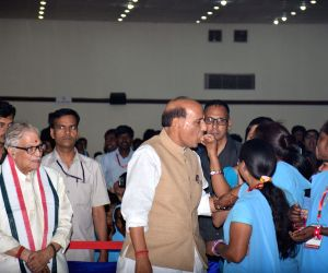 Rajnath Singh during a programme on the eve of B R Ambedkar's birth anniversary