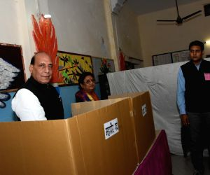 Rajnath Singh votes during local body elections