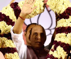 Rajnath Singh during a rally
