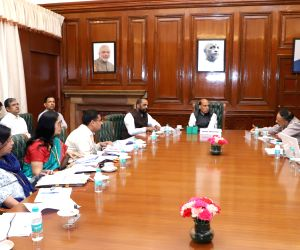 Rajnath Singh during a review meeting