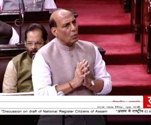 Rajnath Singh speakingat Rajya Sabha