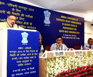 Union Home Secretary Rajiv Gauba addresses the inaugural session of the two-day Annual Conference of States/UTs Relief Commissioners/Secretaries (Disaster Management) to review the status ...
