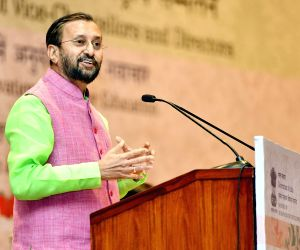 Prakash Javadekar addresses at the National Conference of Vice-Chancellors, Directors