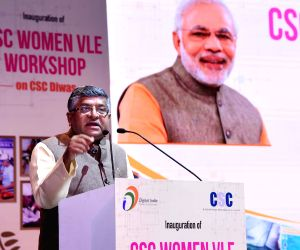 Union Law and Justice, Communications and Electronics and Information Technology Minister Ravi Shankar Prasad addresses at the inauguration of Common Service Centers (CSC) Women Village ...
