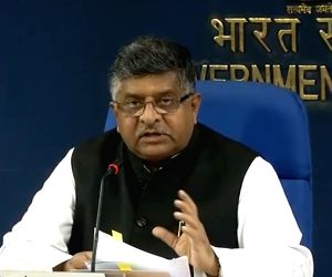 Union Law and Justice Minister Ravi Shankar Prasad addresses a press conference after holding a cabinet meeting, in New Delhi on Sept 19, 2018. The Union Cabinet on Wednesday approved an ...