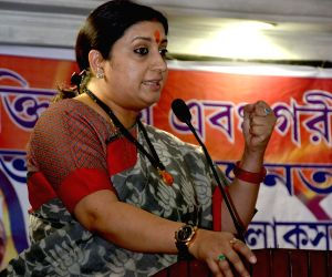 Smriti Irani during a BJP meeting