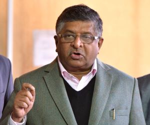 Parliament - Ravi Shankar Prasad talks to the media