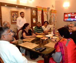 Union Minister and BJP's Lok Sabha candidate from Patna Sahib Ravi Shankar Prasad who emerged victorious from the seat against Congress' Shatrughan Sinha, watches the broadcast of election ...