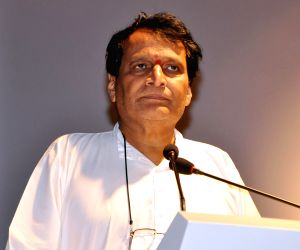 Union Minister for Commerce and Industry and Civil Aviation Suresh Prabhu addresses at the inauguration of the Footwear Design & Development Institute Campus, Gachibowli Road, in ...
