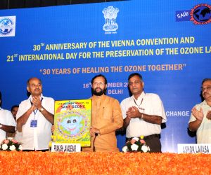 Prakash Javadekar releases a poster at the 21st International Day for the preservation of the Ozone layer