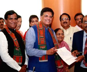Piyush Goyal files his nomination paper for the Rajya Sabha elections