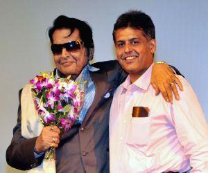 Manish Tewari with Manoj Kumar during the 44th International Film Festival of India