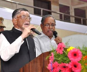 Union MoS Labour and Employlment Santosh Kumar Gangwar addresses at an awareness programme conducted for construction workers at Padmavati Puram, Tirupati, Andhra Pradesh on June 29, 2018.