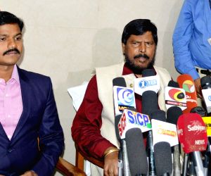 Madurai (Tamil Nadu):  Ramdas Athawale talks to the press