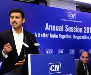Union MoS Youth Affairs and Sports and Information and Broadcasting Rajyavardhan Singh Rathore addresses at Confederation of Indian Industry's (CII) Annual Session 2018, in New Delhi on ...