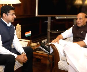 Union MoS Youth Affairs and Sports and Information and Broadcasting Col. Rajyavardhan Singh Rathore calls on Union Home Minister Rajnath Singh, in New Delhi on May 22, 2018.