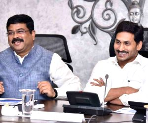 Dharmendra Pradhan reviews oil, gas and steel projects in Andhra Pradesh
