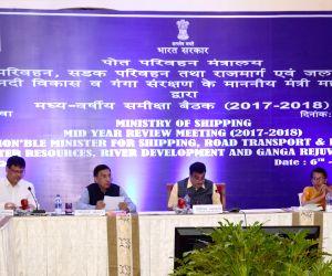 Nitin Gadkari during a review meeting