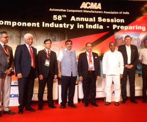 Union Transport Minister Nitin Gadkari, Tata Motors CEO and Managing Director Guenter Butschek and other dignitaries at the 58th annual session of Automotive Component Manufacturers ...