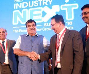 Union Transport Minister Nitin Gadkari with Confederation of Indian Industry (CII) Southern Region chairman Vikram Kirloskar and Deputy Chairman R Dinesh during CII Industry Next Summit ...