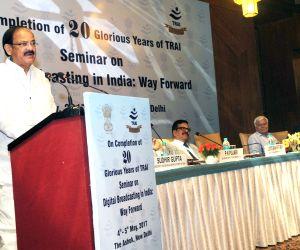 "Union Urban Development Minister M. Venkaiah Naidu addresses at that inauguration of a seminar on ""Digital Broadcasting in India – Way forward"" on 20th anniversary of Telecom ..."