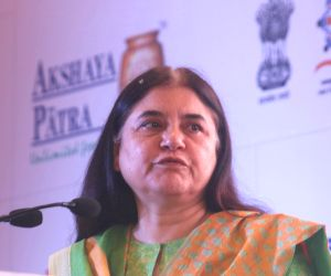 "Maneka Gandhi at the launch of ""Feed The Future"