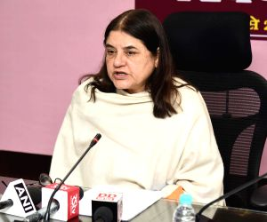 Union Women and Child Development Minister Maneka Gandhi addresses a press conference on Poshan Abhiyan, in New Delhi, on March 1, 2019.