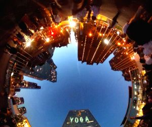 United Nations: UN headquarters lit up with animated yoga asana show