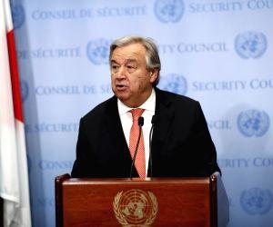 UN SECRETARY GENERAL ANTONIO GUTERRES ISRAELI PALESTINIAN PEACE PROCESS PRESS ENCOUNTER