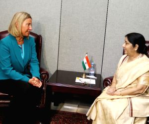United Nations: Sushma Swaraj meets EU Foreign Policy chief