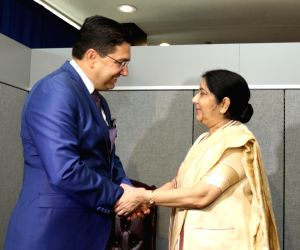 United Nations: Sushma Swaraj meets Morocco Foreign Minister