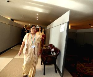 United Nations: Sushma Swaraj arrives to attend UNGA73