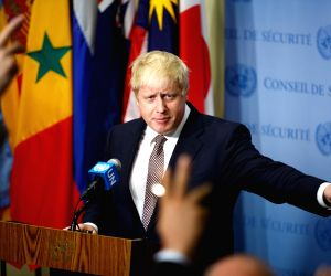 UN BRITAIN FOREIGN SECRETARY BORIS JOHNSON PRESS ENCOUNTER