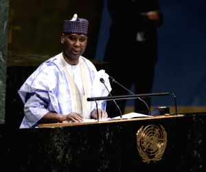UNITED NATIONS, June 4, 2019 - Tijjani Muhammad-Bande, permanent representative of Nigeria to the UN, addresses after he was elected as the President of the 74th session of UN General Assembly at the ...