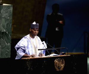UNITED NATIONS, June 5, 2019 (Xinhua) -- Tijjani Muhammad-Bande addresses at the UN headquarters in New York on June 4, 2019. The United Nations General Assembly (UNGA) on Tuesday picked Tijjani Muhammad-Bande, permanent representative of Nigeria to