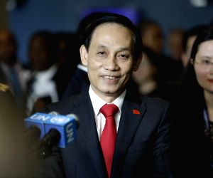 UNITED NATIONS, June 7, 2019 - Vietnamese Deputy Minister of Foreign Affairs Le Hoai Trung speaks to the press after his country was elected the non-permanent members of the UN Security Council, at ...