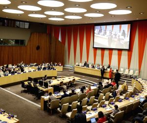 UNITED NATIONS, March 21, 2019 - Photo taken on March 21, 2019 shows a special event of the United Nations marking the International Day of Forests, at the UN headquarters in New York. The United ...